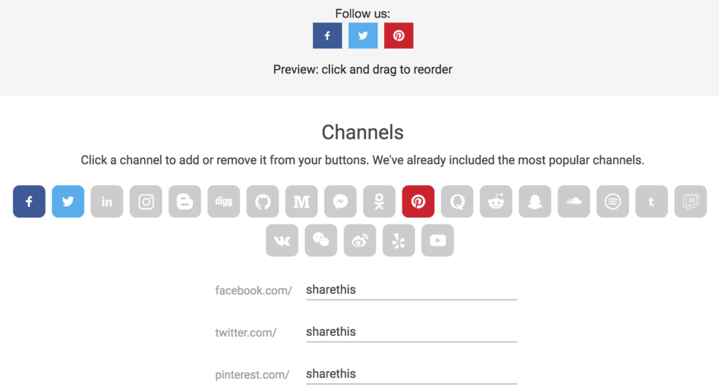 sharethis follow button social channels