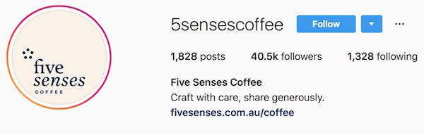 Instagram bio examples 5sensescoffee