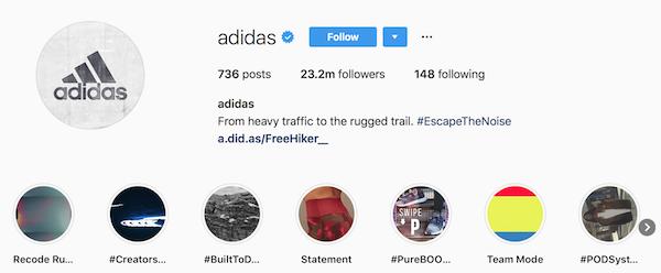 Instagram bio examples adidas