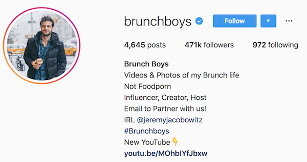Instagram bio examples brunchboys