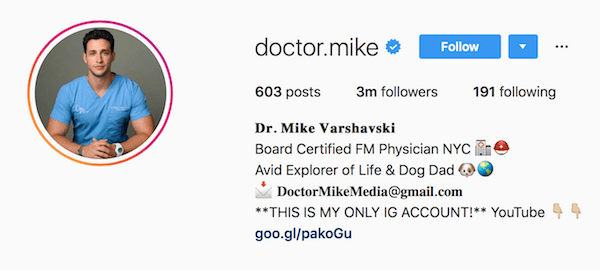 Instagram bio examples doctor.mike