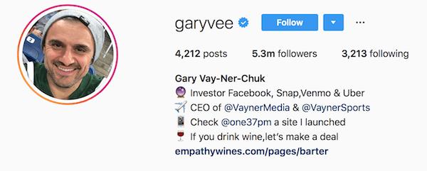 Instagram bio examples garyvee