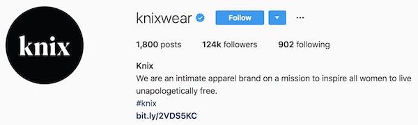 Instagram bio examples knixwear