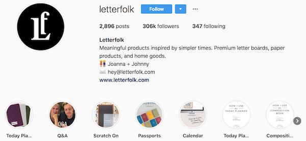 Instagram bio examples letterfolk