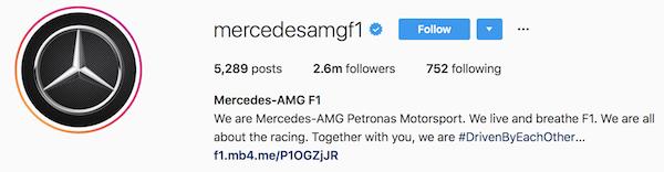 Instagram bio examples mercedesamgf1