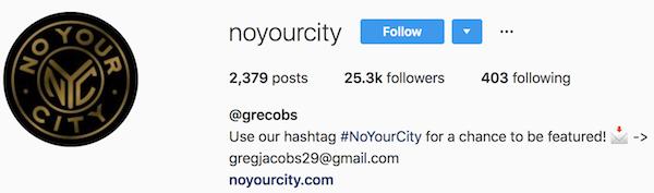Instagram bio examples noyourcity