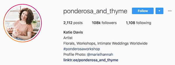 Instagram bio examples ponderosa_and_thyme