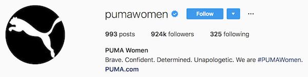 Instagram bio examples pumawomen