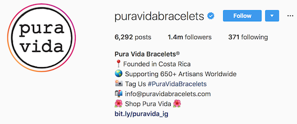 Instagram bio examples puravidabracelets