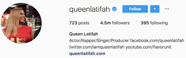 Instagram bio examples queenlatifah