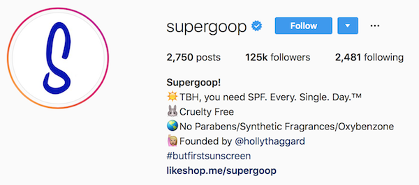 Instagram bio examples supergoop