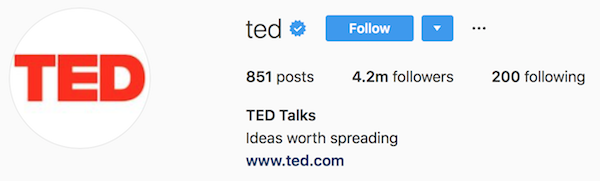 Instagram bio examples ted
