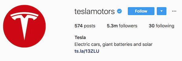 Instagram bio examples teslamotors