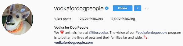 Instagram bio examples vodkafordogpeople