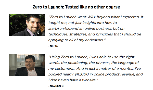 Zero to Launch Quote Testimonials