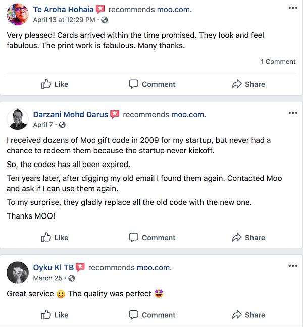 Social Media Customer Testimonials Moo